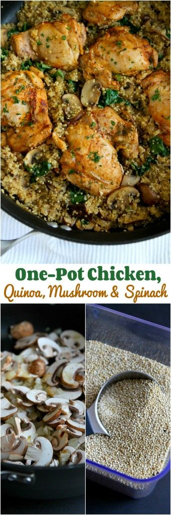 One-Pot Chicken, Quinoa, Mushrooms & Spinach - Healthy dinner, quick clean-up! 256 calories and 6 Weight Watchers PP.