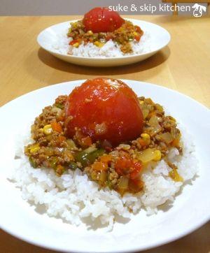"""Curryied rice"" - japanese recipe/丸ごとトマトのドライカレー"
