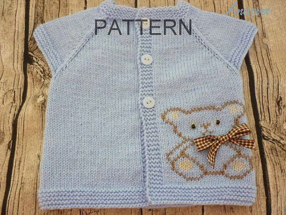 "Teddy vest is a classic cardigan for any boy or girl.This is the perfect last minute baby gift. This is knit top down, with buttons half front. Size:0 - 3 months. length - 26 cm/10,2"" width -24 cm/9.5 Needles: US #4 / 3.5 mm MATERIALS: Baby sport /4Ply 1 x 100 gram ball Baby"