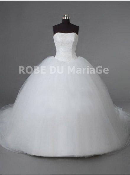 Robe de mariée romatique princesse bustier princesse traîne fantaisie robe mariage pas cher sur mesure Prix : €165,99 Lien pour cette robe : http://www.robedumariage.com/robe-de-mariee-princesse-jupe-ample-simple-traine-cathedrale-organza-product-4808.html