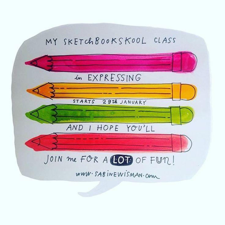 Sketchbook Skool Fakulty member @sabinewisman is just as excited as we are for her klass this week in Expressing! #illustratedjournaling #artjournal #visualjournal #visualdiary #creativejournal #artjournaling #sketchbook #draw #drawing #lettering #handlettering #infographic #365sketches #instaart #letteringjanuary #illustratedlife #alteredjournal #arttoldnew #sketchaday #drawdaily #instadraw #drawings #drawwithfriends #sketchbookskool #artaday