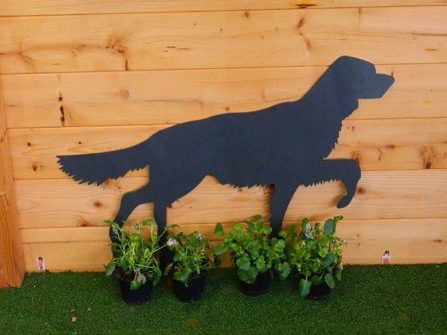 cane setter in ferro acciaio al corten da esterno animale da giardino taglio laser