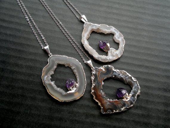 Doble piedras preciosas collar geoda amatista por SinusFinnicus