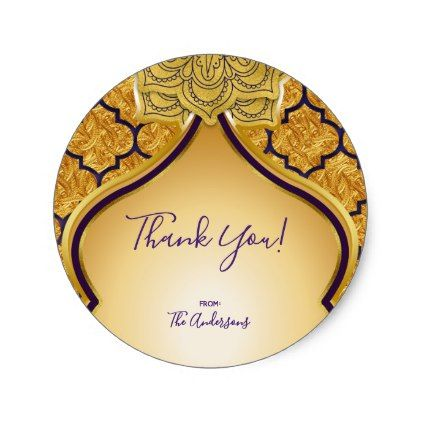 Purple & Gold Indian Arabian Moroccan Party Favor Classic Round Sticker - glamour gifts diy special unique