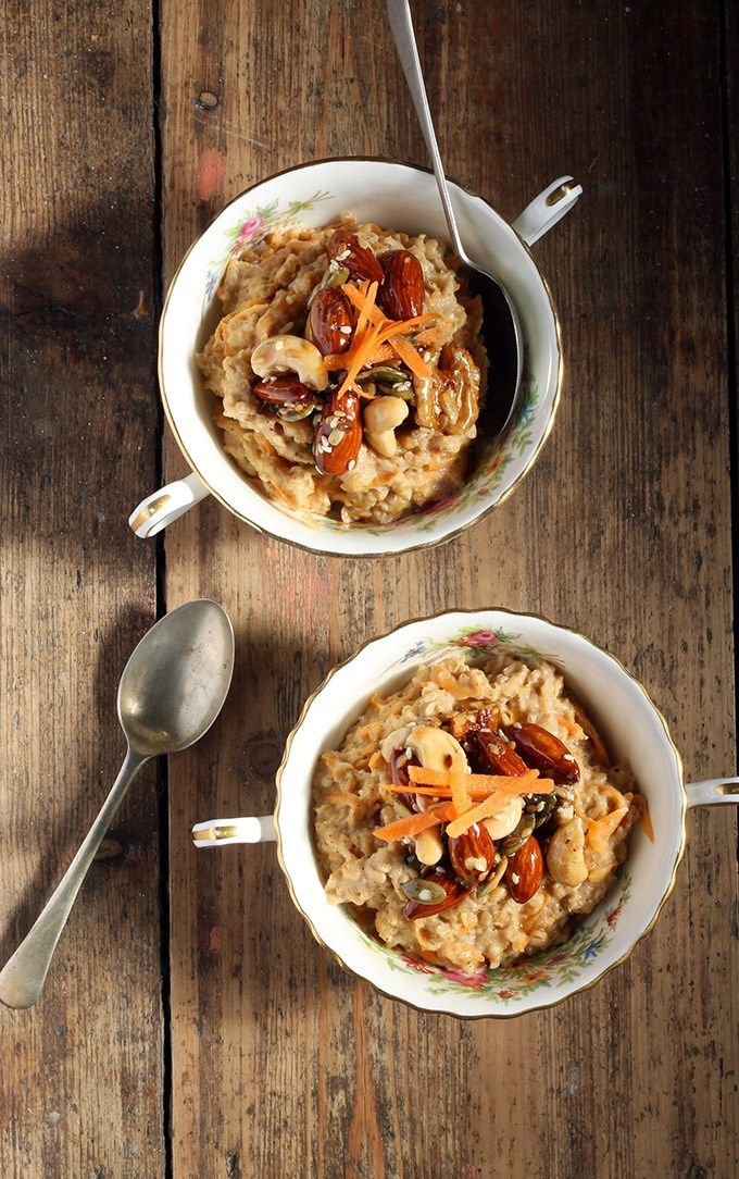 Winter-Spiced Carrot Porridge with Maple Caramelised Nuts and Seeds | Veggie Desserts Blog Carrot cake flavours are the perfect addition to a warming bowl of carrot porridge. The gentle spices take over while the flavour of the grated sweet carrot fades into the background. The maple caramelised nuts and seeds add a flavourful crunch and festive treat.