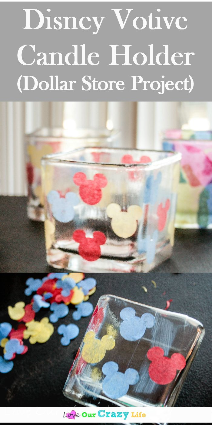 These DIY candle holders made with items from the dollar store are a perfect craft for kiddos. Do a Disney theme, or a mosaic theme! via @thebeccarobins
