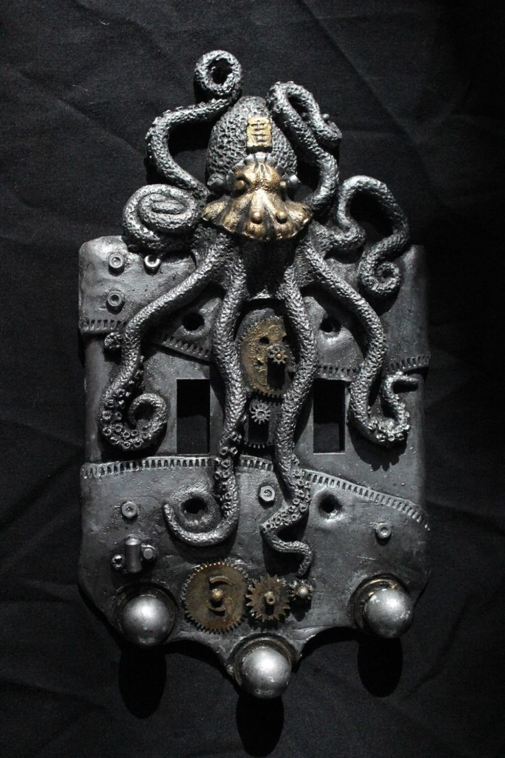 Steampunk Octopus double switch plate. Wall art, sculpture, wall decor, home decor, housewares. by WainmanStudios on Etsy https://www.etsy.com/listing/177437610/steampunk-octopus-double-switch-plate
