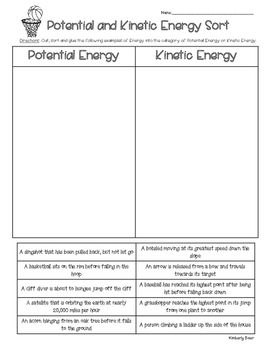 This is a great sorting activity for students to practice reading examples of energy and deciding if it is an example of Potential or Kinetic Energy.  Students cut, sort and glue the examples of energy into the correct category. This can be used for guided or independent practice, or even a quiz or assessment.