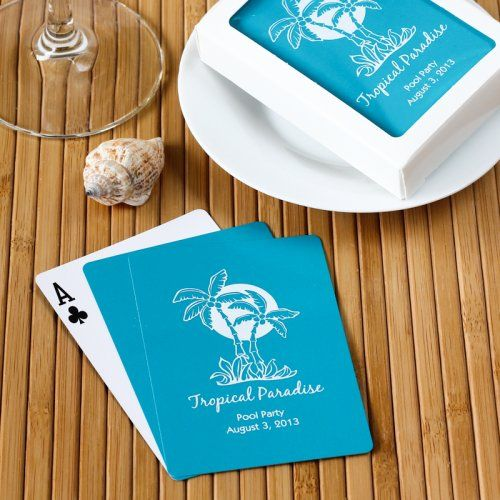 beach wedding custom playing cards