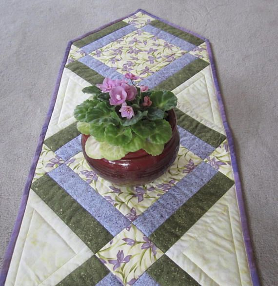 Quilted Table Runner Purple Orchids Patchwork