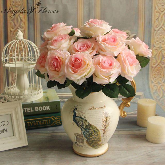 Дешевые 9 глав/Букет искусственного шелка Декоративные розы Для свадебной вечеринки украшения букет 6 видов цветов