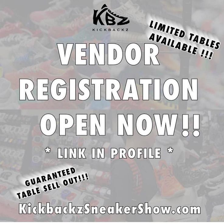 Sell your kicks clothing line and more at The KickBackz Sneaker Show! _ VENDORS! REGISTRATION IS NOW OPEN! CLICK LINK IN PROFILE TO LOCK YOUR BOOTH IN! TABLES ARE LIMITED AND WILL SELL OUT! _ THE PERFECT WEEK TO SELL YOUR MERCH & KICKS! 1 WEEK AFTER BLACK FRIDAY AND 3 WEEKS BEFORE CHRISTMAS! _ VENDOR TABLES INCLUDE 6x3 TABLE WITH TABLECLOTHS PROVIDED & ENTRY TO VENDOR EXCLUSIVE JORDAN RAFFLE _ HOSTED BY CELEBRITY TALENT LOVE AND HIP HOP's @DJSELF! MUSIC BY @ITSDJLIV  _ Purchase tickets and…