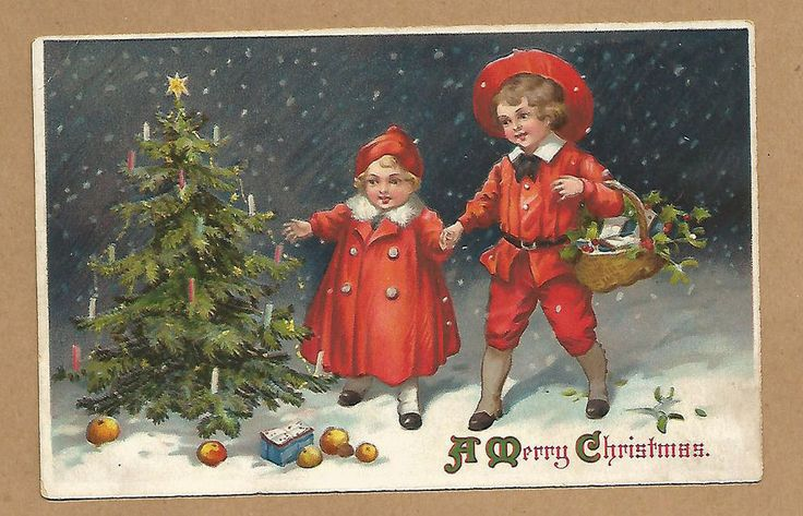 SOLD OUT - Vintage Gold Embossed A Merry Christmas Postcard, Brother & Sister in Red Outfit #Christmas