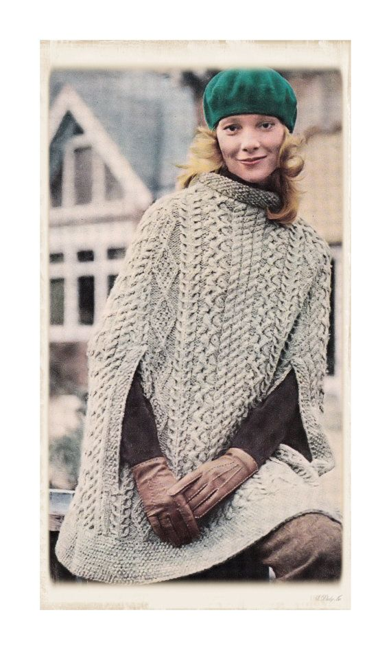 """Instant Download PDF :Vintage Seventies Knitting Pattern to make an Irish Aran Poncho Cape Thigh Length One Size to fit up to a 38"""" Bust on Etsy, $3.50"""