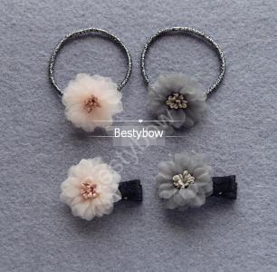 Flower Hair Clip ponytail Holder hair Tie, 20pcs