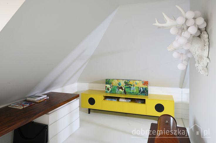 Żółta szafka w stylu lat 60 oraz jeleń (ozdoba ściany potraktowana z przymrużeniem oka)