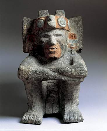 Xiuhtecuhtli, one of the most ancient and important Aztec Gods, who was identified with the life-giving warmth of fire. It was found in the Templo Mayor (Main Temple) of Tenochtitlán. It dates from AD 1400–1500.