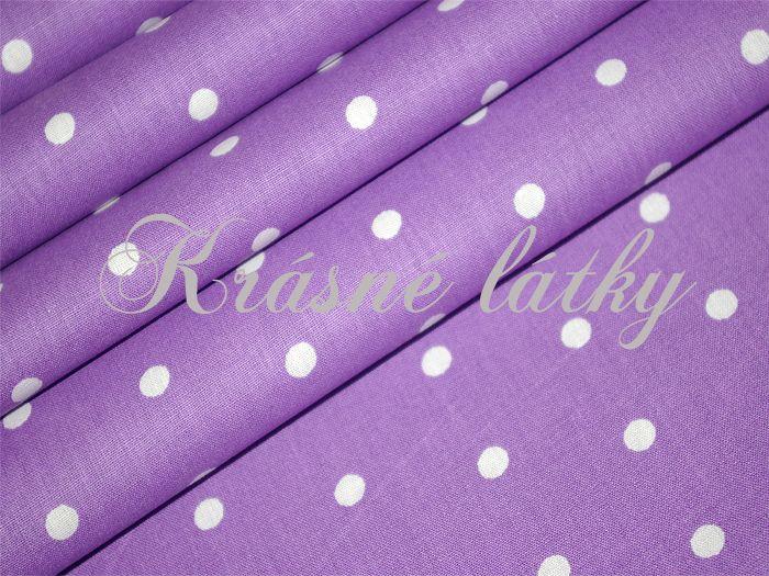 Bílé puntíky 7mm /fialová š..240cm, 100% bavlna