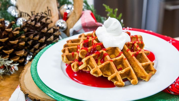 Gingerbread Waffles With Whipped Sour Cream In 2020 Sour Cream Waffles Decadent Breakfasts