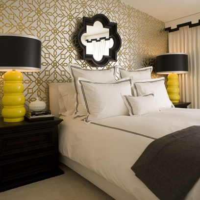 hollywood regency bedroom. It's my black white yellow scheme again.