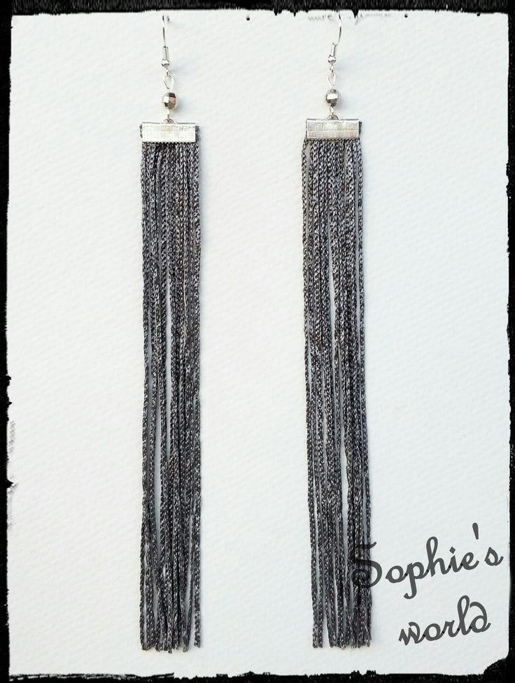#fringe #earrings #long #grey #handmade σκουλαρίκια μακριά με κρόσσια ασημί https://www.facebook.com/SophiesworldHandmade/