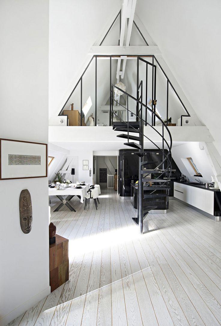 loft, escalier, verrière