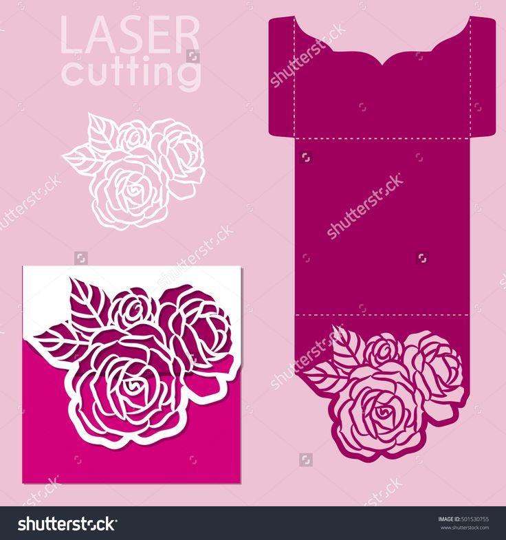 Vector die laser cut envelope template with rose flower. Wedding lace invitation mockup. Vector die laser cut wedding card template.