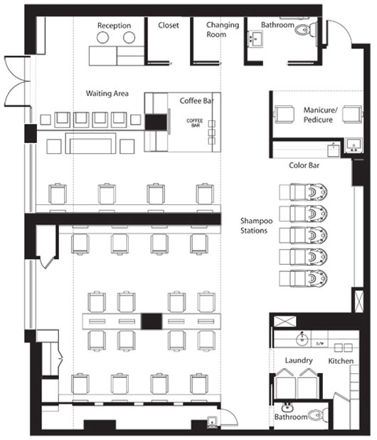 Floor plan salon business project pinterest new york for Salon floor plans free