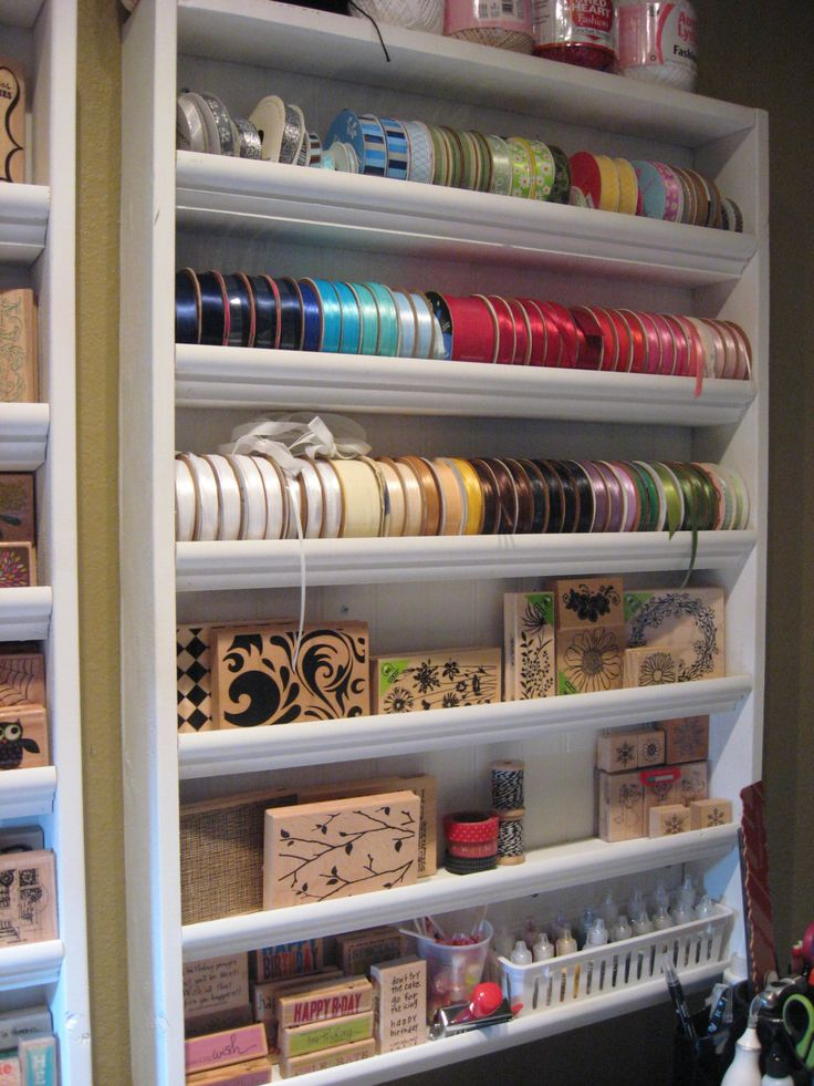 Rubber Stamp and Ribbon Storage - Handcrafted Shelving in White. $60.00, via Etsy.