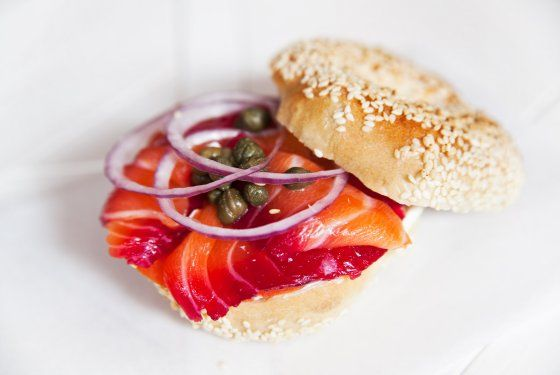 Sesame bagel with homemade cream cheese and beet-cured lox.  The colors alone are enough to make me swoon!!