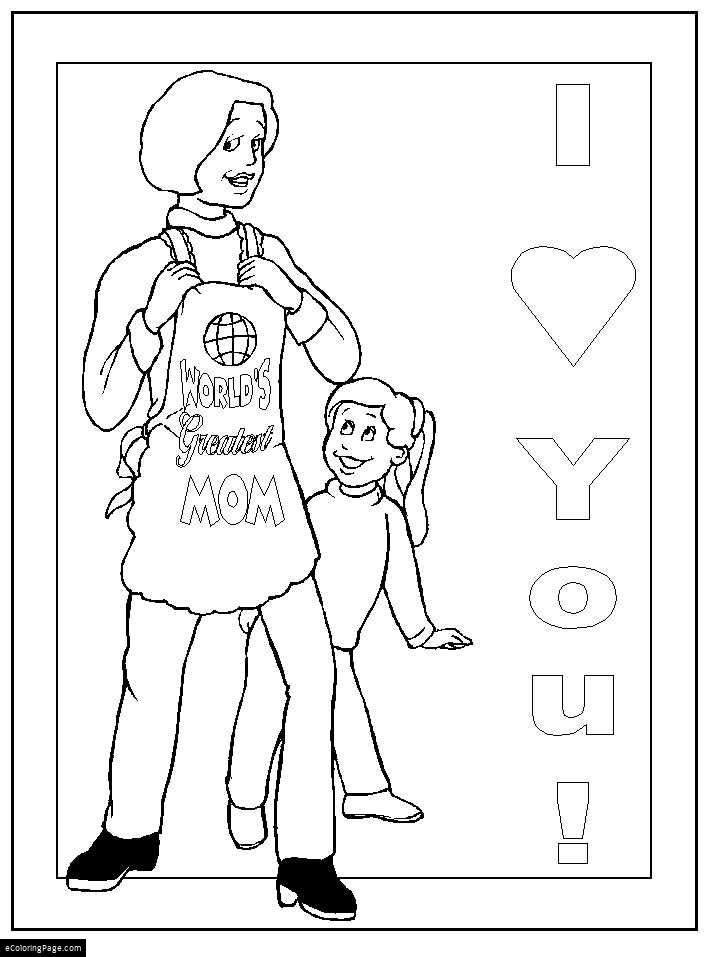 Happy Mothers Day Worlds Greatest Mom With Daughter Printable Coloring Page For Kids Coloring Pages Printable Coloring Pages Coloring Pages For Kids