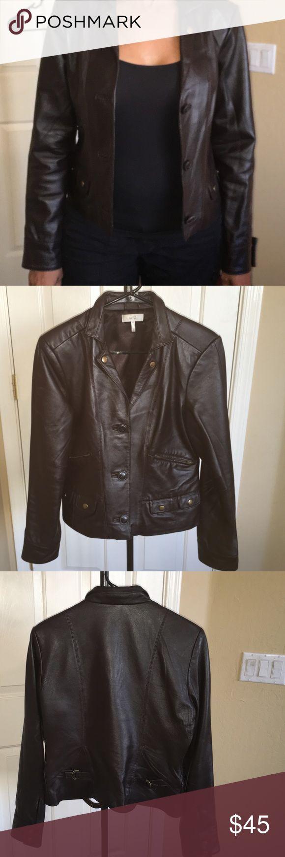 Women's brown real leather jacket Metro 7 dark brown real leather jacket in really good condition, size 6. Metro 7 Jackets & Coats Blazers