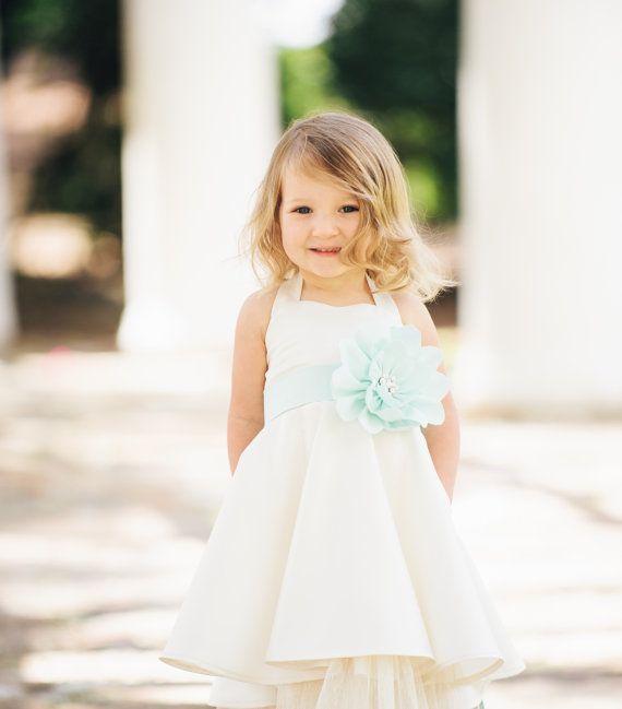 Ivory Flower Girl Dress / Sweetheart Neckline / Pockets / Custom Color Sash & Flower / Mint, Peach, Seafoam / AGES 1-5