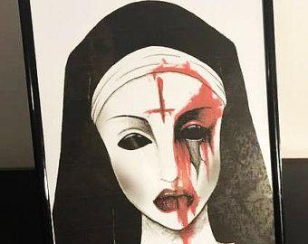 Bleeding Nun Art Print by RadioactivePandaShop on Etsy