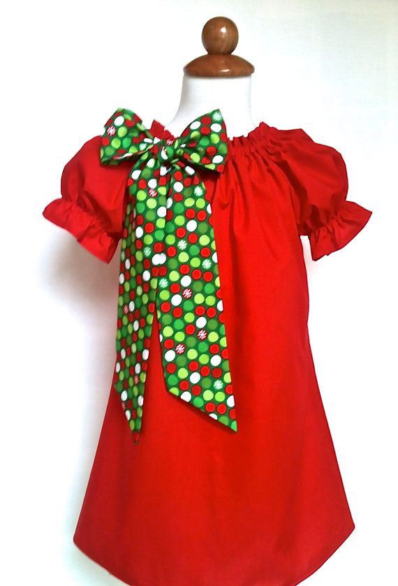 Girls Christmas Dress Toddlers Christmas Dress Babies Christmas Dress Red Dress with Choice of Bow Color by 8th Day Studio on Etsy, $34.00