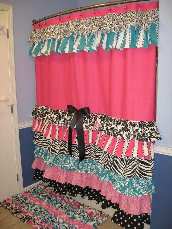 Shower Curtain Cascading Ruffles Custom Designer Fabric Black Pink Teal Aqua Turquoise White Damask Animal Print Zebra Cheetah Stripes Dots #ZebraPrintBedding