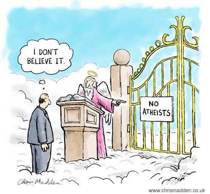 Funny Atheist Heaven Cartoon Joke Picture | Funny Joke Pictures