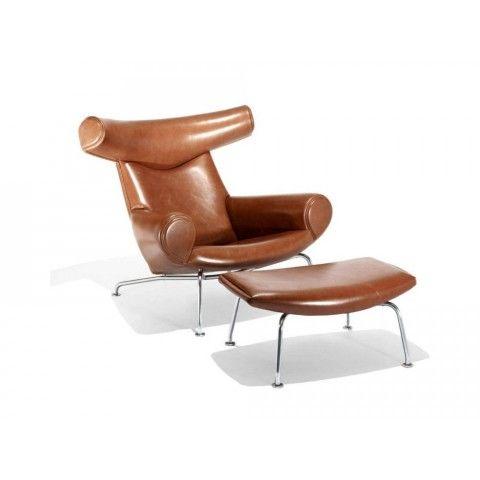 Fotel Cuerno z podnóżkiem projekt inspirowany OX Chair with Ottoman