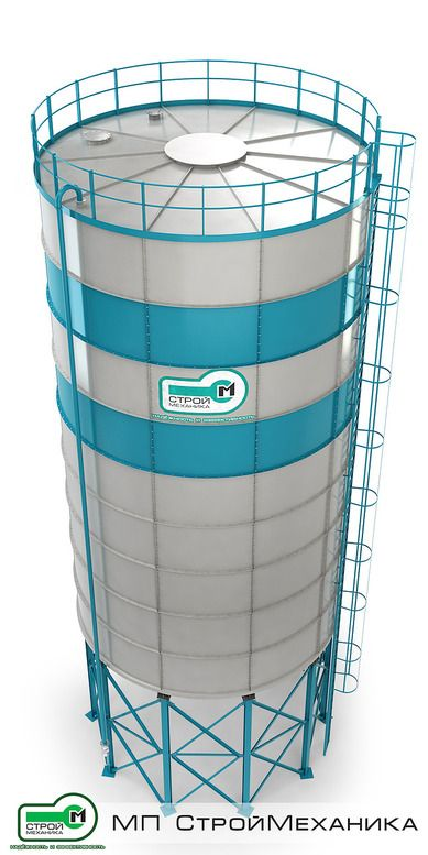 """Cement silo series """"EUROSILO"""" (collapsible design) D 7.7 m from 520 to 985 t Cement silo series """"EUROSILO"""" (modular construction), production of the engineering enterprise #StroyMehanika are intended for reception of cement from a bulk cement transport vehicles, storage and further its delivery to the process line by using screw conveyor or a feeder"""