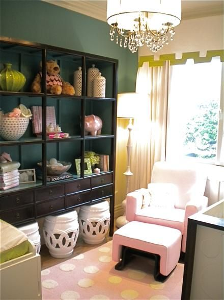 great bookcase styling - garden stools underneath: Wall Colors, Nurseries Inspiration, Colors Combos, Design Children Life, Baby Baby, Colors Palettes, Baby Rooms, Bookca Style, Baby Nurseries