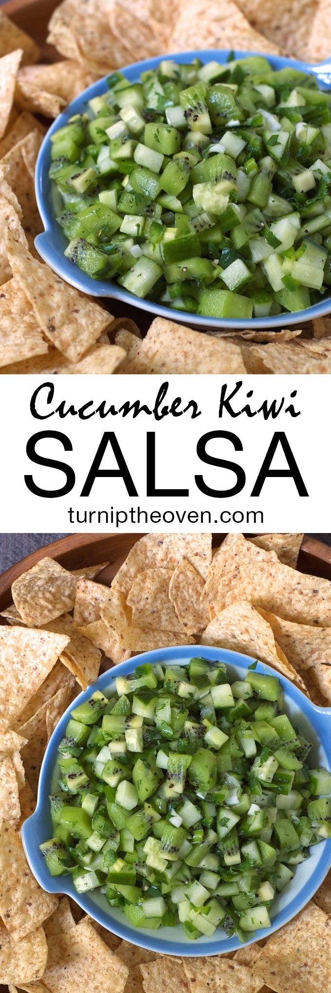 This crisp, refreshing salsa is bursting with the flavors of juicy kiwi, cool cucumber, tart lime, and spicy jalapeño. Try it with chips or as a topping for grilled chicken or fish.