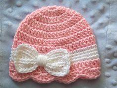 Crochet Baby Girl Hat, Newborn Baby Girl hat, Baby Girl Bow Hat, Infant Bow Hat,Newborn Baby Bow Hat, Pink, White, Gift