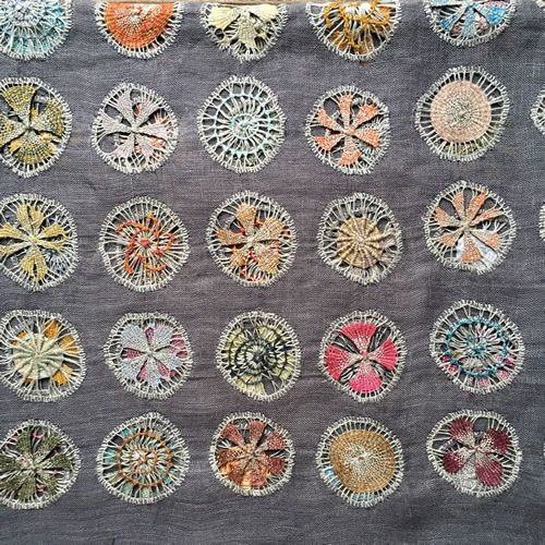 Sophie Digard.  Linen crochet on linen cloth.
