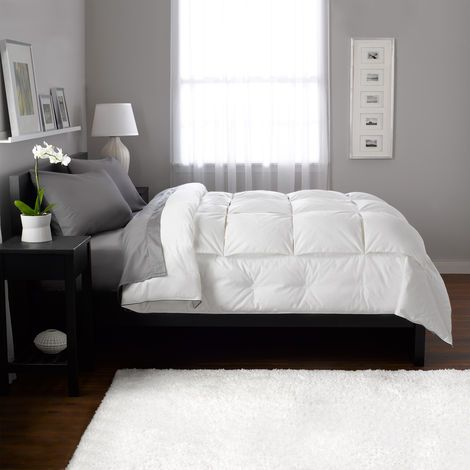 Gray sheets and white down comforter. White and gray everything please.