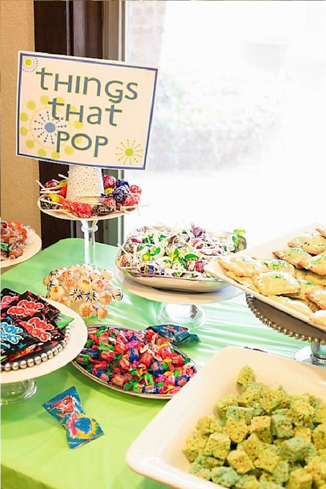 Ready to Pop! Themed baby shower. can use rice crispie treats, pop rocks, ring pops, bubbles, rock candy, bubble gum, popcorn, blow/tootsie pops, balloons, cake pops, marshmallow pops, fruit pops, s'more pops, popcorn chicken, pop tarts, toppers that say 'ready to pop' that go in food that doesn't pop, mini whoopie pies, soda pop