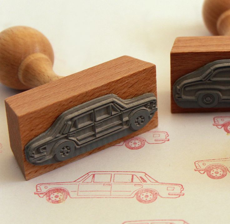 """Fiat 125p"" rubber stamp from Malu Studio #oldcar #stamp #design #man #kids #creative"