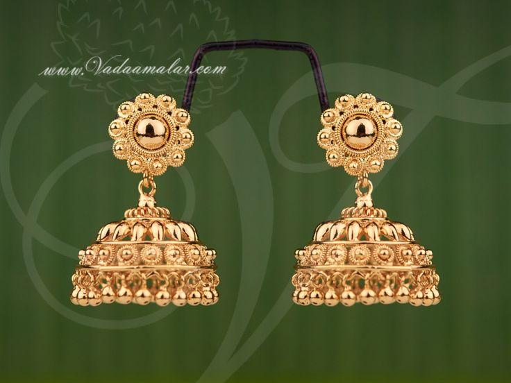 Micro Gold plated jhumka earrings buy online