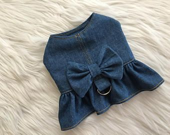 Dog harness, dog clothes, puppy harness, puppy dress, Dog dress, dog clothes, puppy clothes, denim harness, Avery