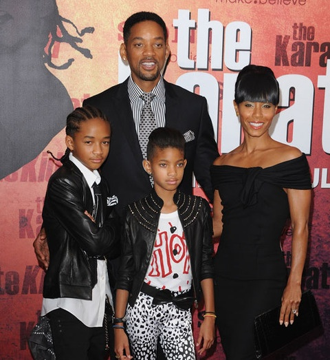 "Will Smith,wife Jada Pinkett-Smith,son Jayden and daughter Willow...all in the ""bizz"" even though Willow is singing instead of acting."