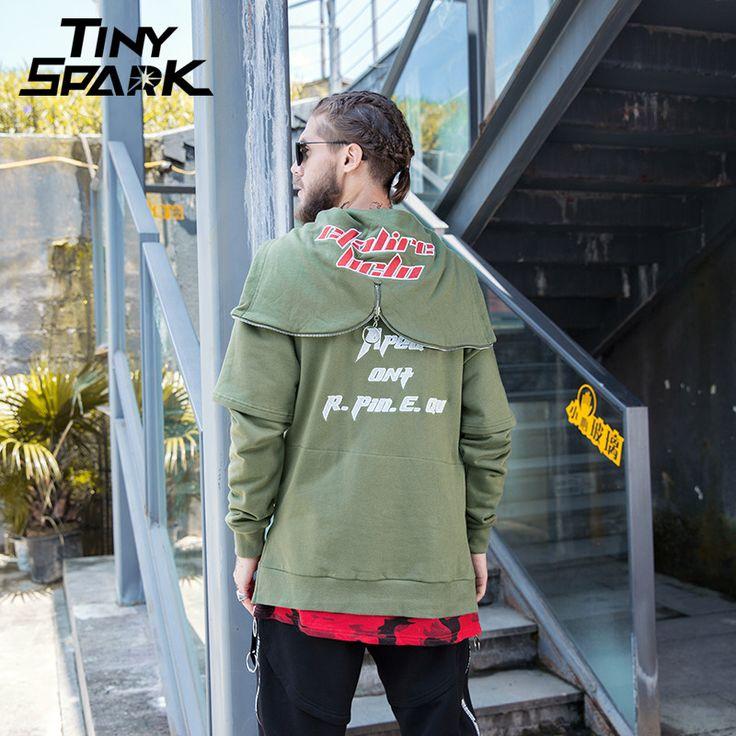 Men Sweatshirt Hip Hop Zipper Open Hoodie Red Camoflage Patchwork Pullover Female Long Hoodie Sweatshirt New 2018 Spring Hipster